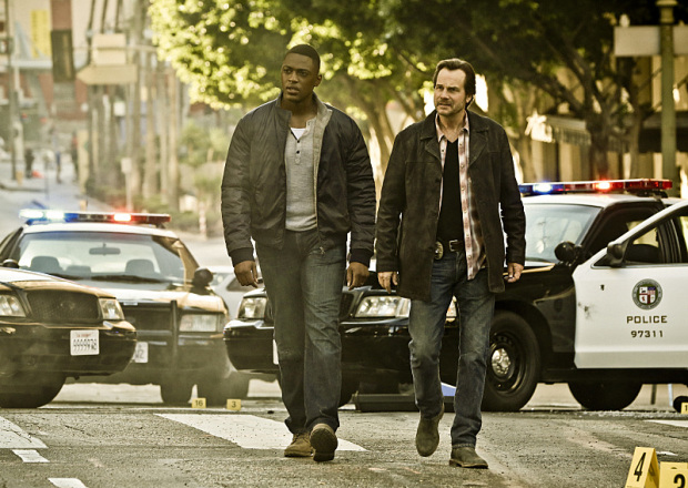 TRAINING DAY is a crime drama that begins 15 years after the events of the feature film, starring Bill Paxton as Frank Rourke (right), a hardened, morally ambiguous detective for the LAPD, and Justin Cornwell as Kyle Craig (left), a young, idealistic officer tapped to go undercover as his trainee and spy on him. TRAINING DAY will air during the 2016-2017 season on the CBS Television Network.  Photo: Michael Yarish/CBS ©2016 CBS Broadcasting, Inc. All Rights Reserved