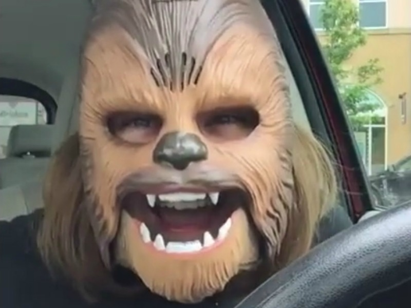 this woman is so happy about finding this chewbacca mask that its hard not to get excited right along with her