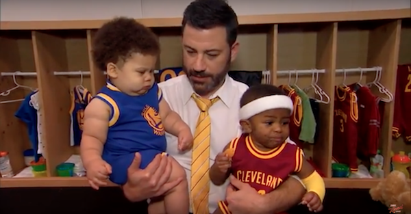 new products a8036 e819a Jimmy Kimmel Interviews Baby Steph Curry And Baby LeBron ...
