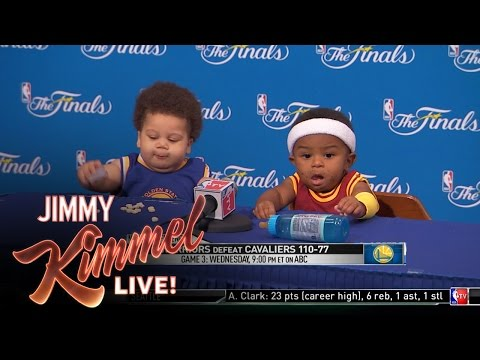 new arrival fed2d b017c Watch This Press Conference Starring Baby Steph Curry And LeBron James
