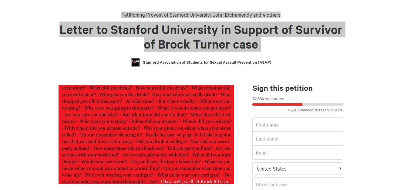 stanford rape petition
