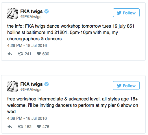 FKA Twigs Is Hosting A Free Dance Workshop In Baltimore ...