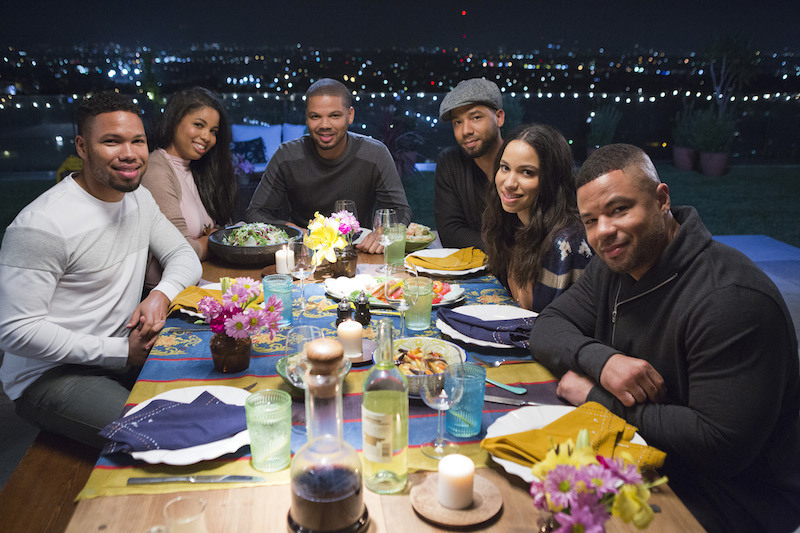 The Smollet siblings (Jocqui, Jazz, Jake, Jussie, Jurnee, and JoJo) pose for a photo at dinner, as seen on Cooking Channel's What's Cooking With The Smollets, Season 1.