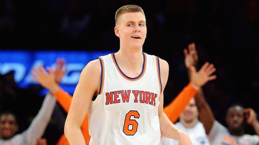 NBA NY Knicks Kristaps Porzingis reacts after hitting a  pointer MM PI