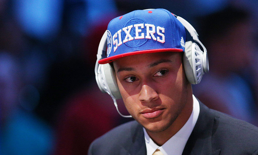 Jun 23, 2016; New York, NY, USA; Ben Simmons (LSU) is interviewed after being selected as the number one overall pick to the Philadelphia 76ers in the first round of the 2016 NBA Draft at Barclays Center. Mandatory Credit: Brad Penner-USA TODAY Sports