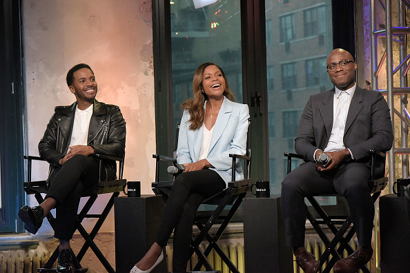 """NEW YORK, NY - OCTOBER 21: (L-R) Andre Holland, Naomie Harris and Barry Jenkins attend The Build Series to discuss """"Moonlight"""" at AOL HQ on October 21, 2016 in New York City. (Photo by Chance Yeh/FilmMagic)"""