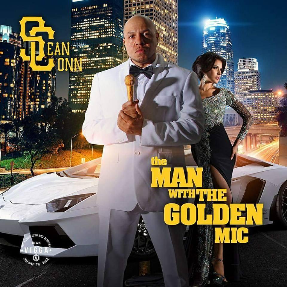 sean conn man with golden mic