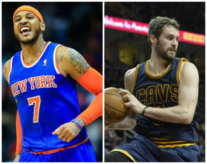 new york knicks carmelo anthony l and cleveland cavaliers kevin love