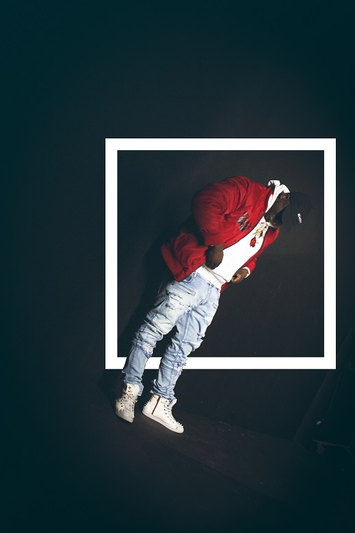 Zoey Dollaz Red Jacket standing with KRUZIN footwear crazy horse white