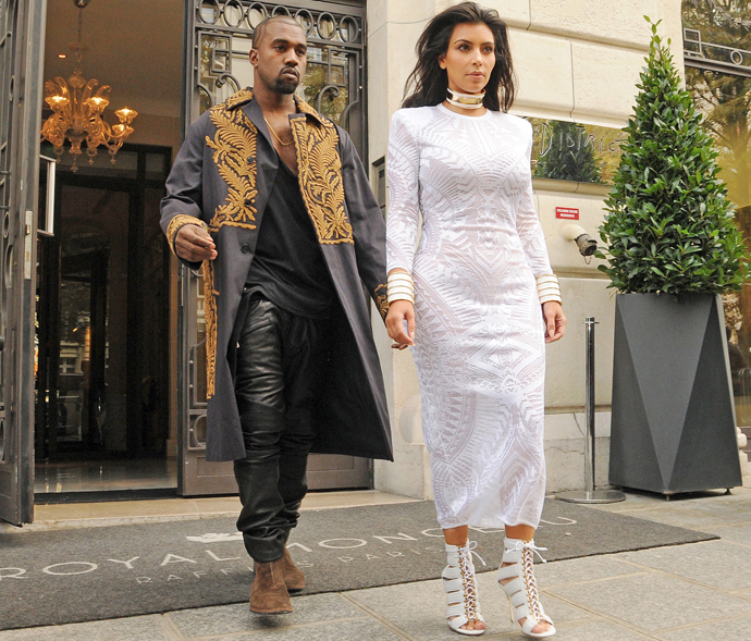 Kim Kardashian and Kanye West attending the Balmain show during Paris Fashion Week. September 25, 2014 X17online.com USA ONLY