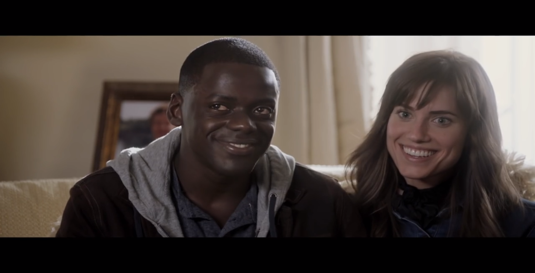 daniel kaluuya as chris and allison williams as rose in get out