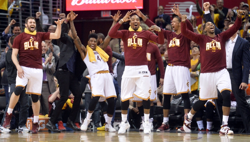 Cleveland OH USA The Cleveland Cavaliers bench including forward Kevin Love, guard Iman Shumpert, guard J.R. Smith, and center Tristan Thompson celebrate Cleveland Cavaliers guard Mo Williams  three-pointer during
