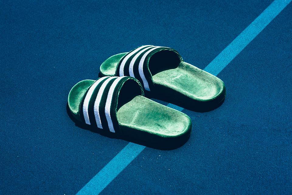 adidas adilette mystery blue green white