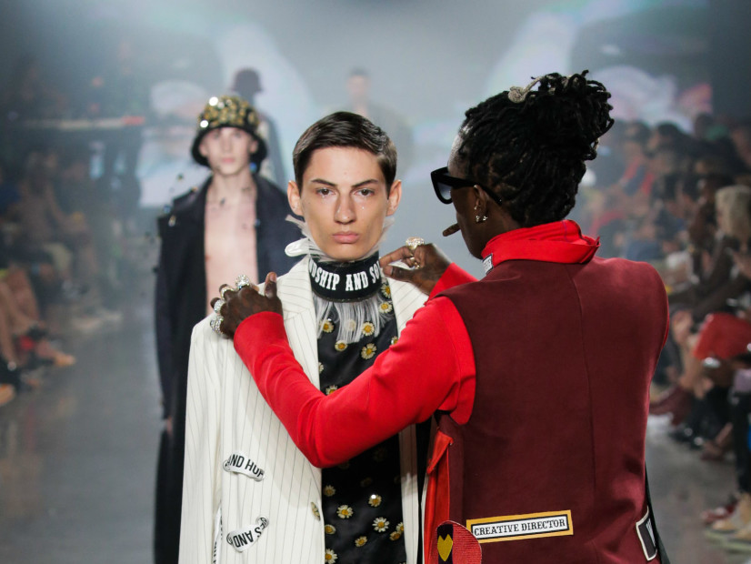 Young Thug adjusts VFiles model outfit