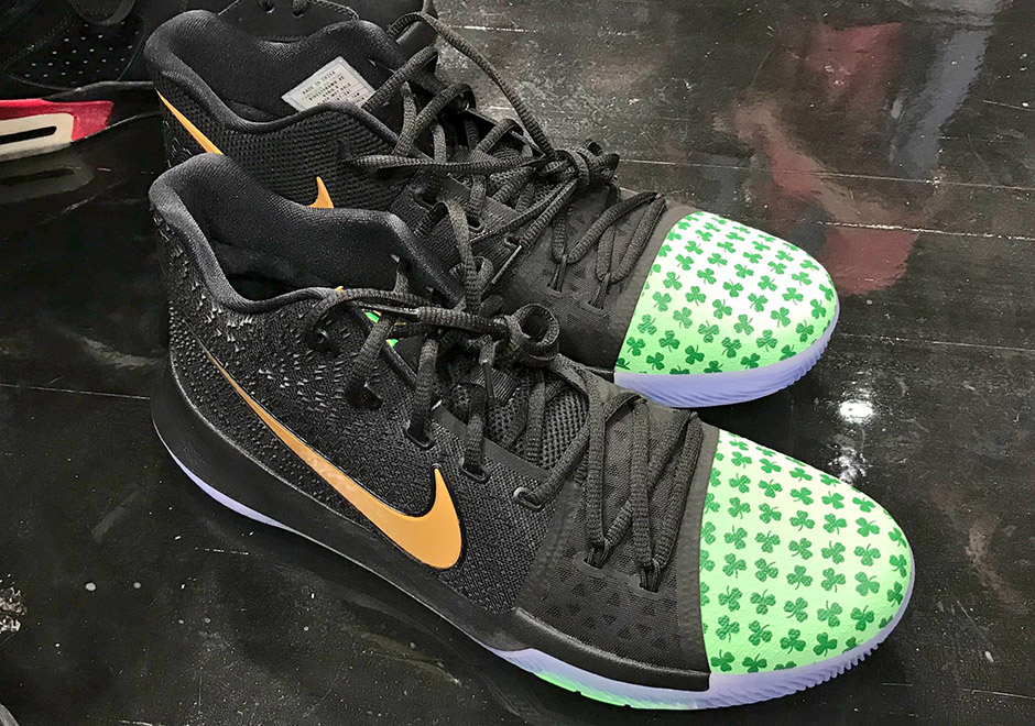9d013cf99d09 Kyrie Irving Rocks Boston Celtic Themed Nike Kyrie 3s Opening Night