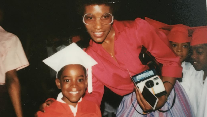 andre  with his mother