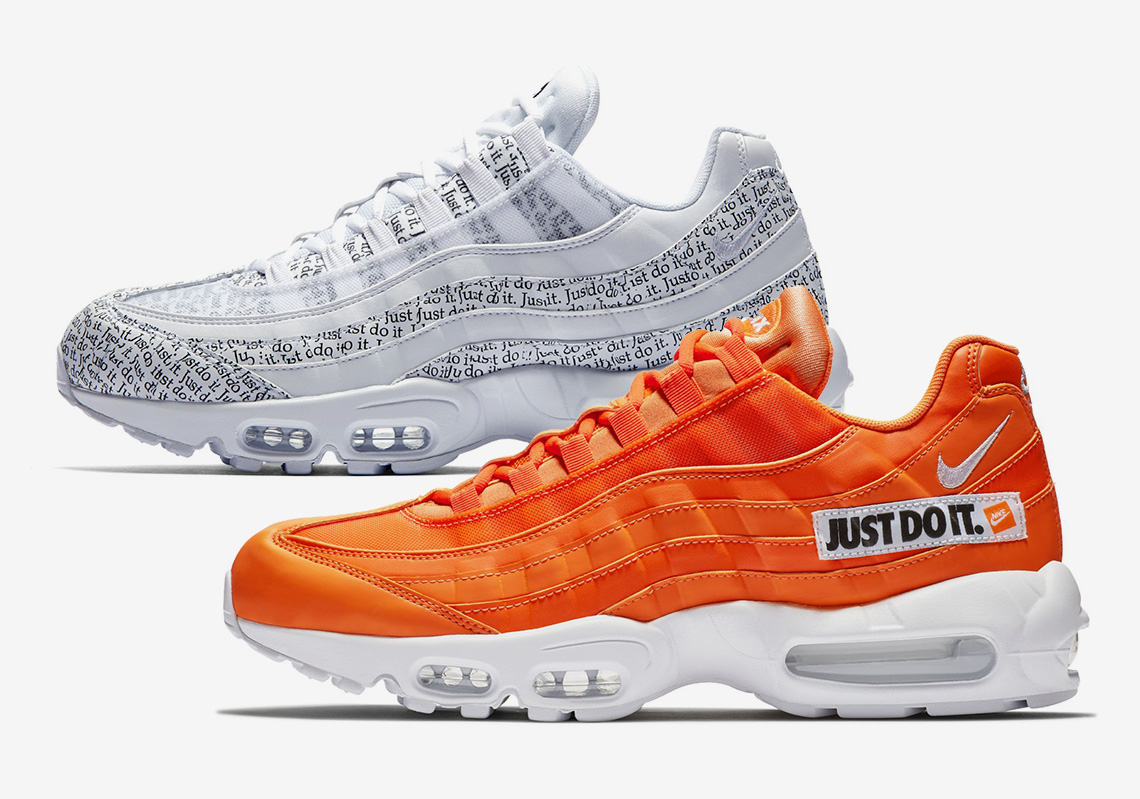 "the latest 2ed9e e3eeb The ""Just Do It"" AM95 set utilizes the signature brand tagline on an orange  colorway (synonymous with the classic color of Nike sneaker boxes) and a  white ..."