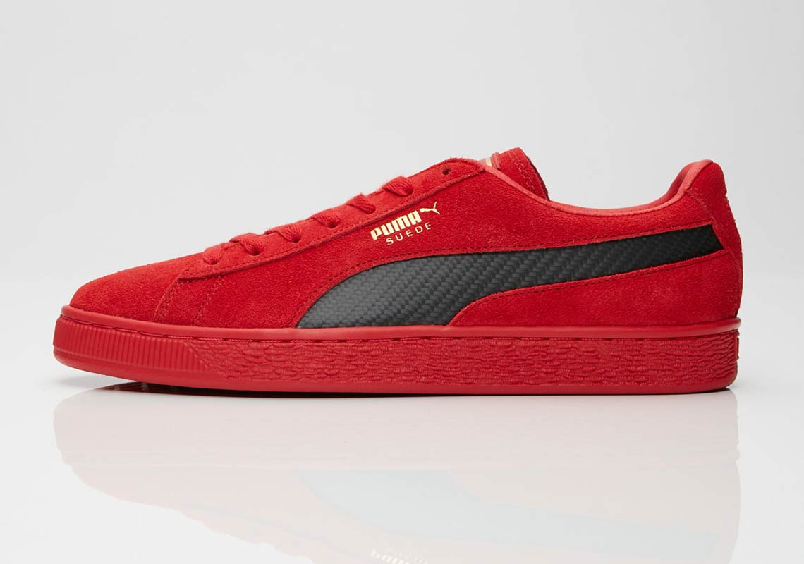 puma suede red black carbon fiber