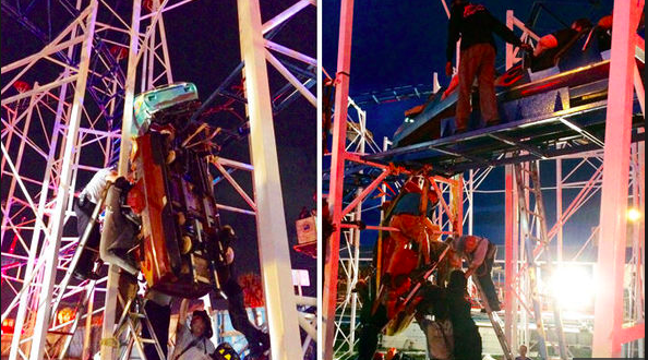 6 hurt, including 2 who fell 34 feet when roller coaster derails