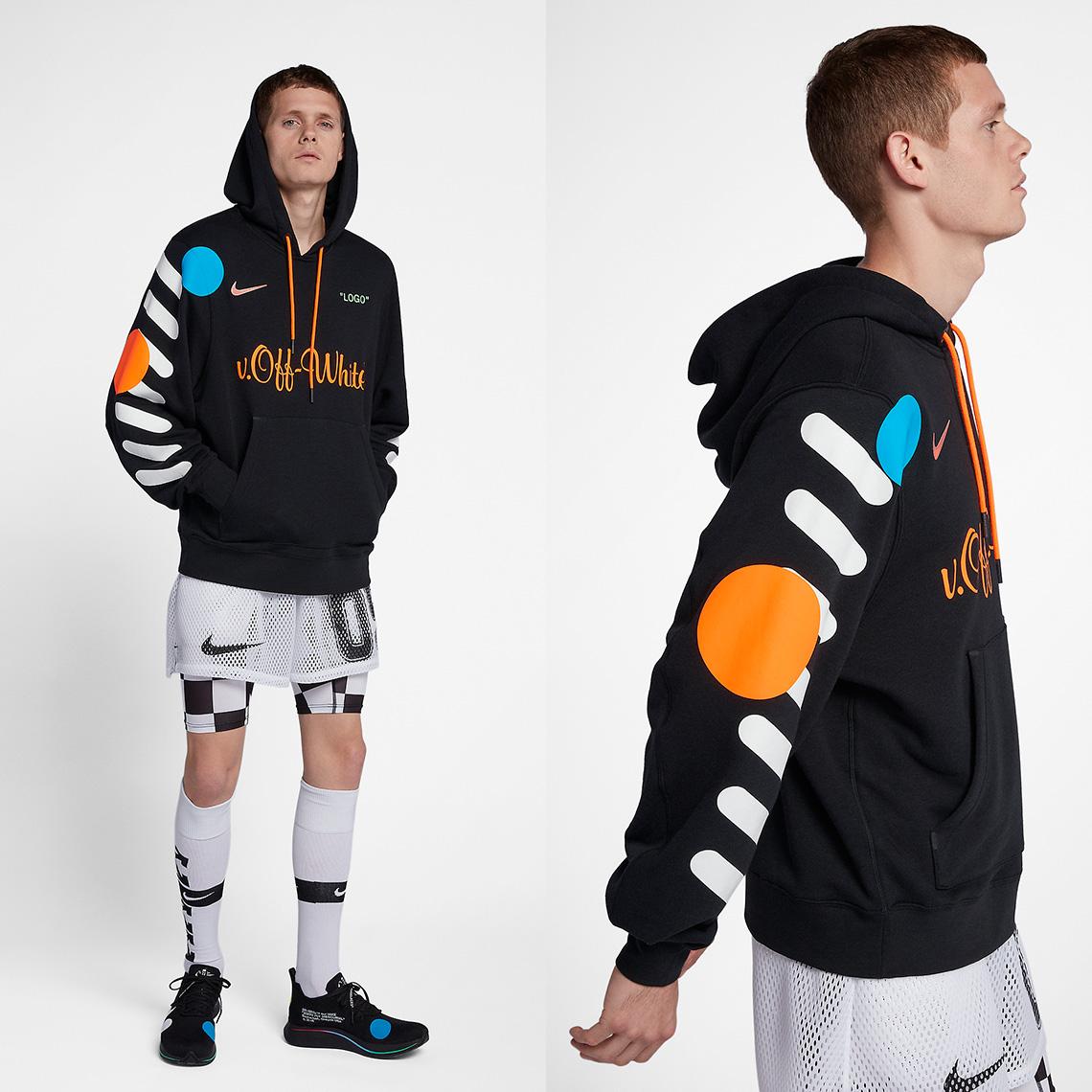 off white nike soccer hoodie black AA