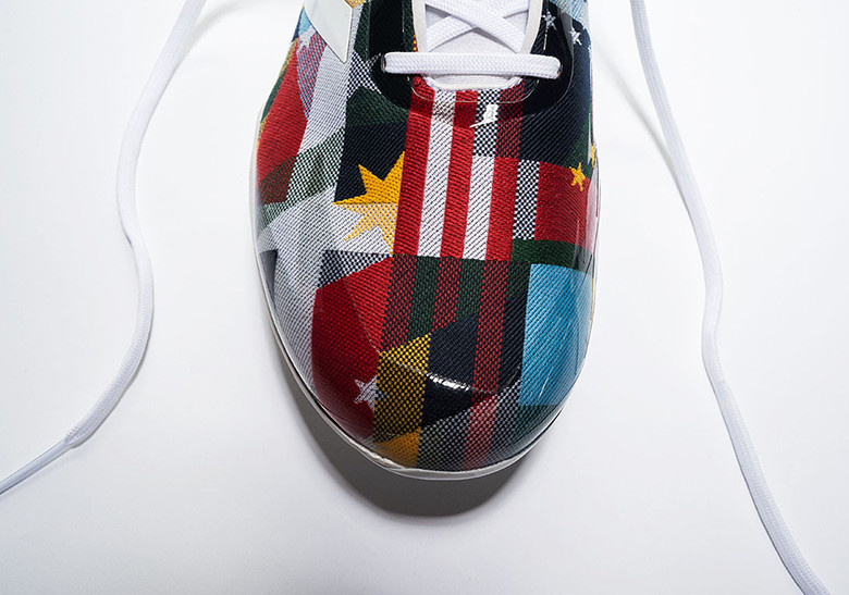 "41bf9d67f50 The ""Nations Pack"" decks out the adiZero Afterburner cleat and the Icon  Trainer silhouette in a print that utilizes 18 flags from across the globe  ..."