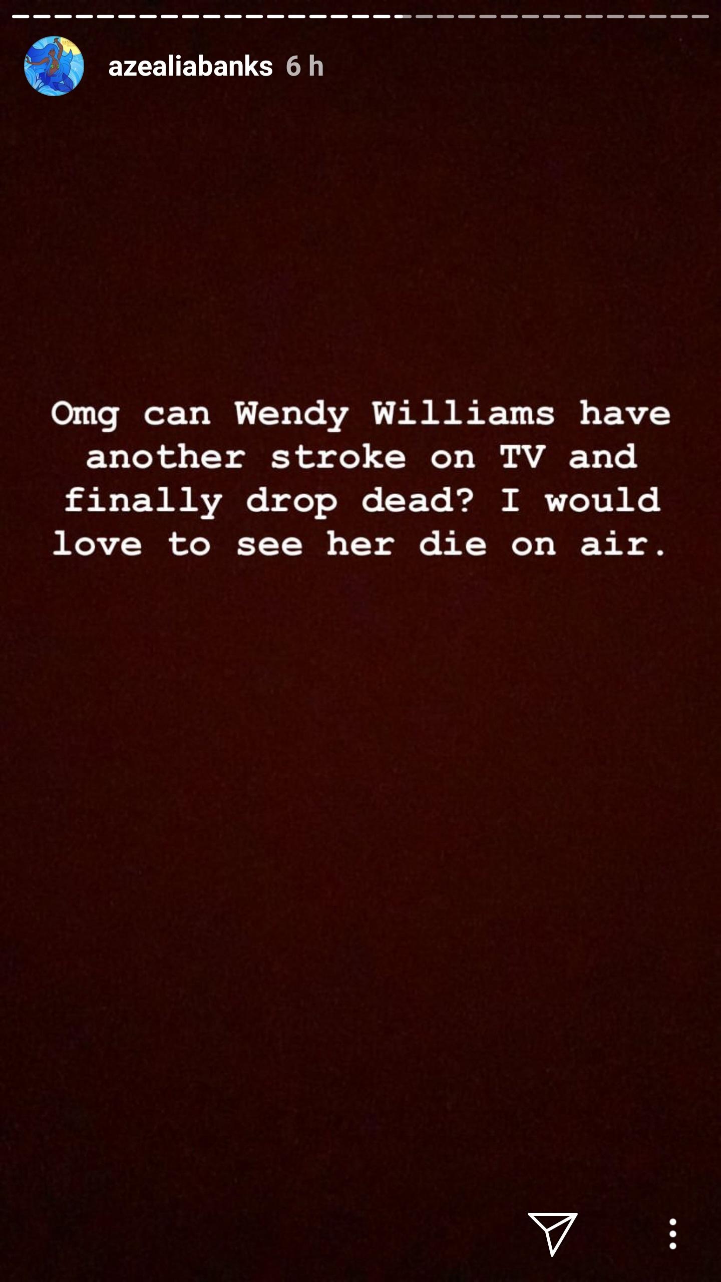 Azealia Banks Wants To See Wendy Williams Die On Air