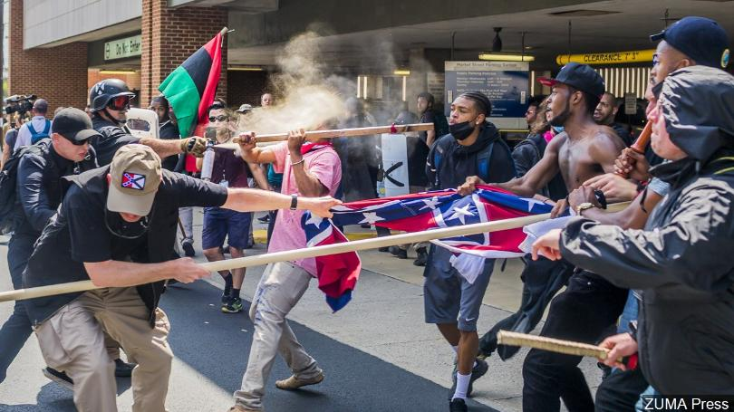 Charlottesville protesters demonstrating against racism on one-year anniversary of deadly rally