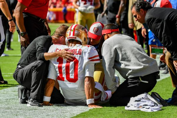 Quarterback Jimmy Garoppolo Done for the Season With a Torn ACL