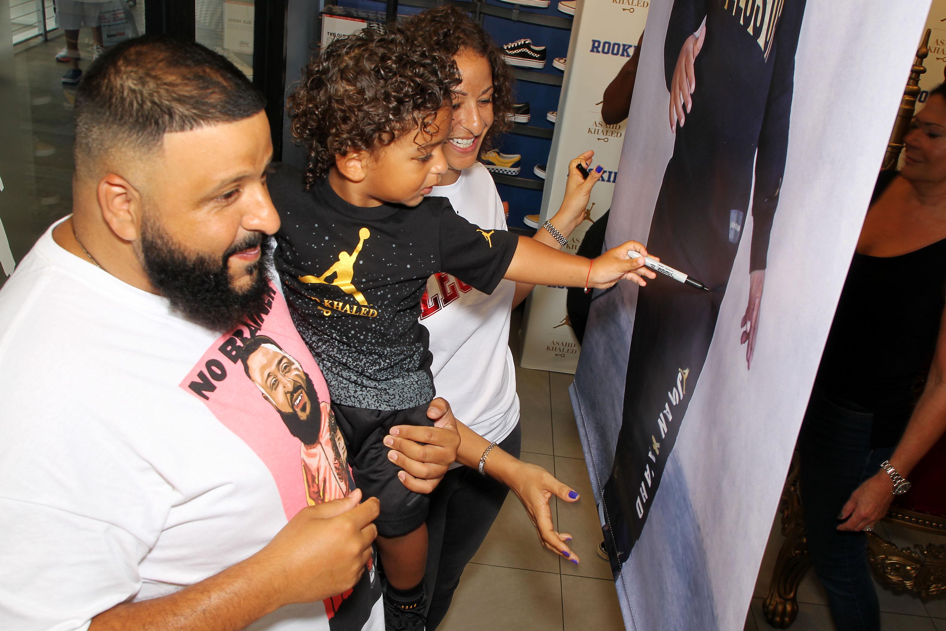 24ec2740051 DJ Khaled and his son Asahd Khaled made a FanLuv appearance at Bayside  Marketplace Miami Florida