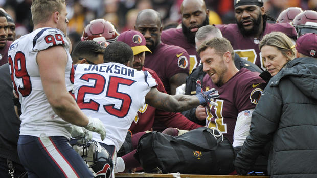 Alex Smith carted off with leg injury vs. Texans
