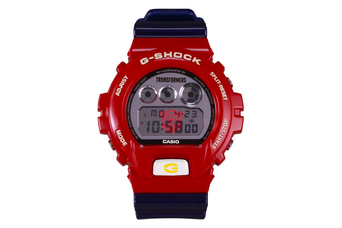 this g-shock x 'transformers' watch includes a morphing optimus