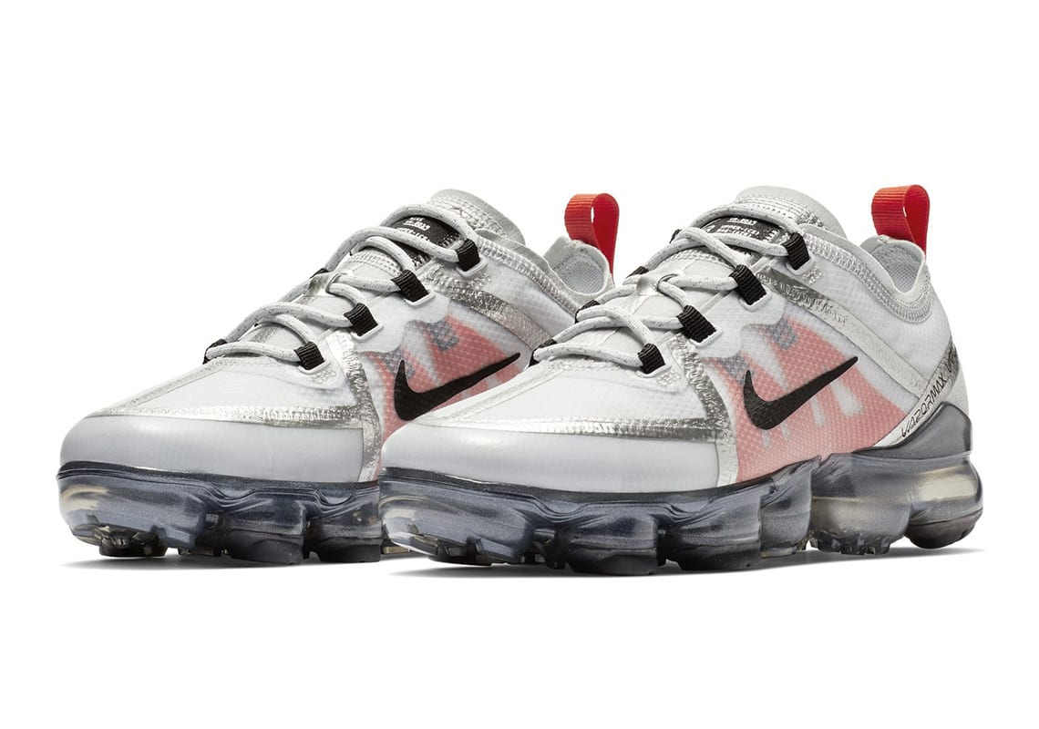 """bbaa8a50f9 The """"Silver Bullet"""" Vapormax 2019 is vibrant from all angles, boasting  metallic silver piping on the seams to compliment the white translucent  upper."""