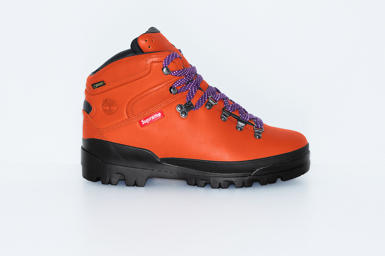 super popular faf2a bd76f Pick up the Supreme x Timberland 2018 World Hiker Front Country Boot either  in the Manhattan, Brooklyn, Los Angeles, London and Paris flagships or  online ...