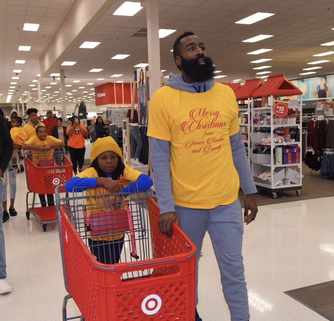 06e4dc9a4063 James Harden Treats 70 Kids to Target Shopping Spree for the Christmas  Holiday