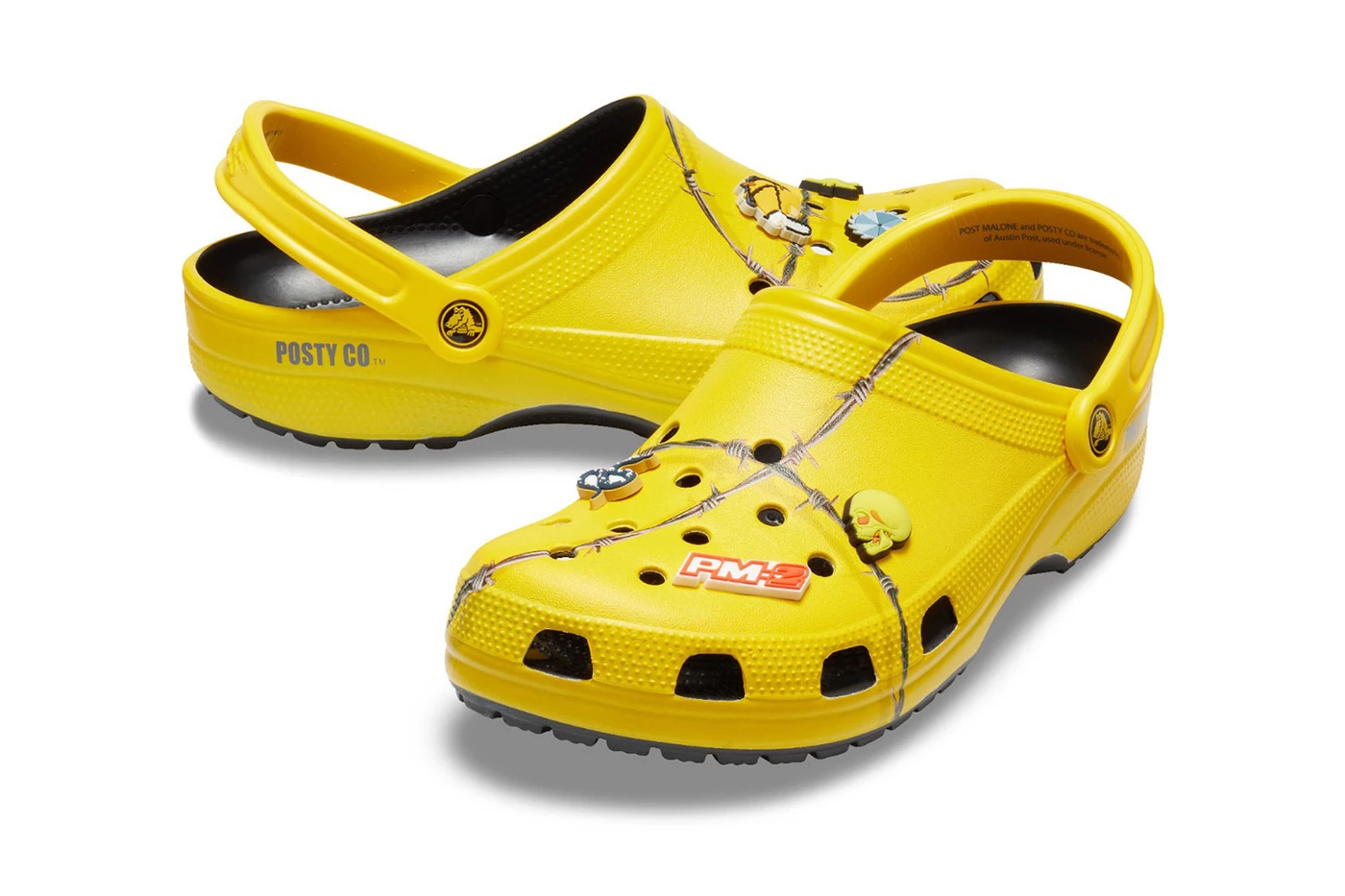 post malone crocs barbed wire clog