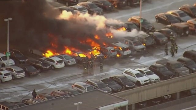 Parking garage fire at Newark Airport ravages more than a dozen cars