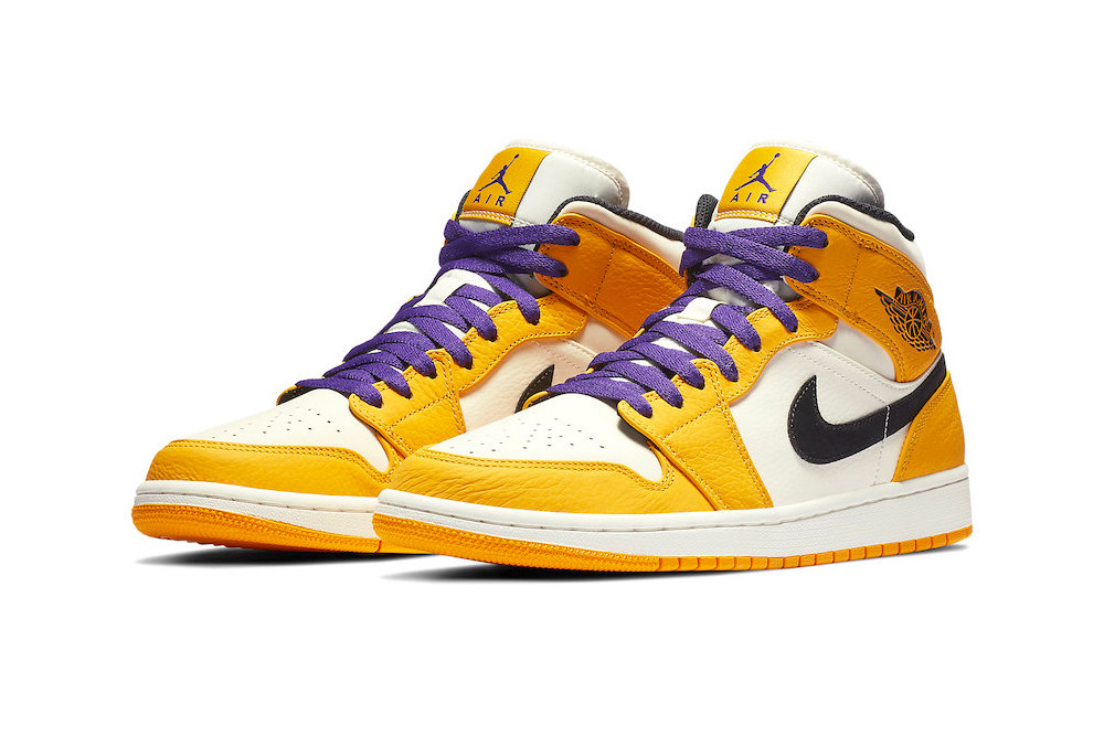 superior quality cdd66 49945 Peep the New Air Jordan 1 Mid Lakers-Inspired Colorway