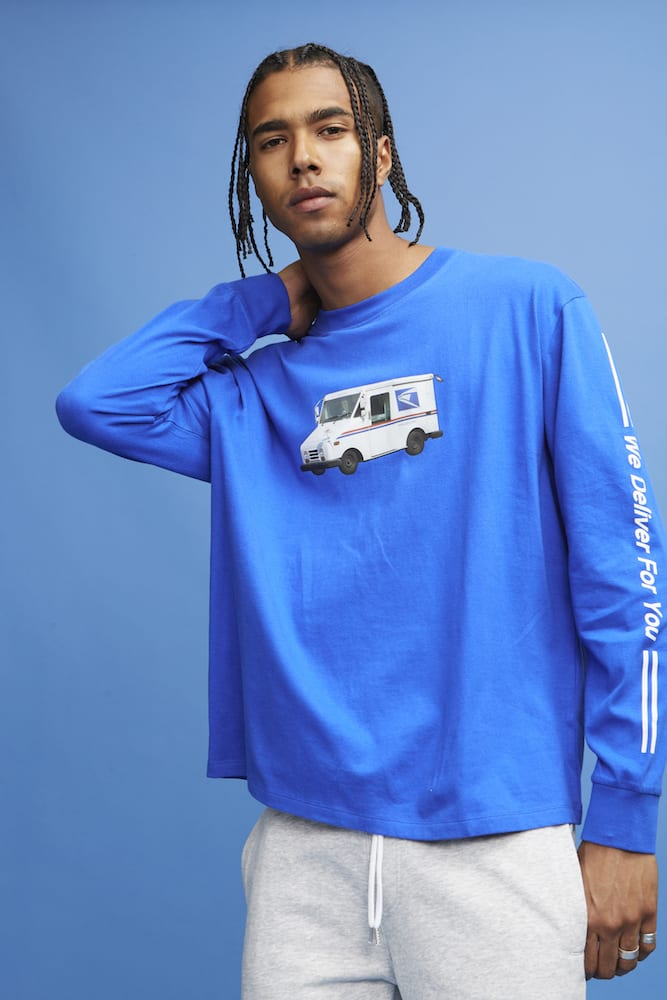 b466efc4e30 Pick up the new Forever 21 x United States Postal Service collaboration  right now at F21 retail locations and online. Peep the lookbook below: