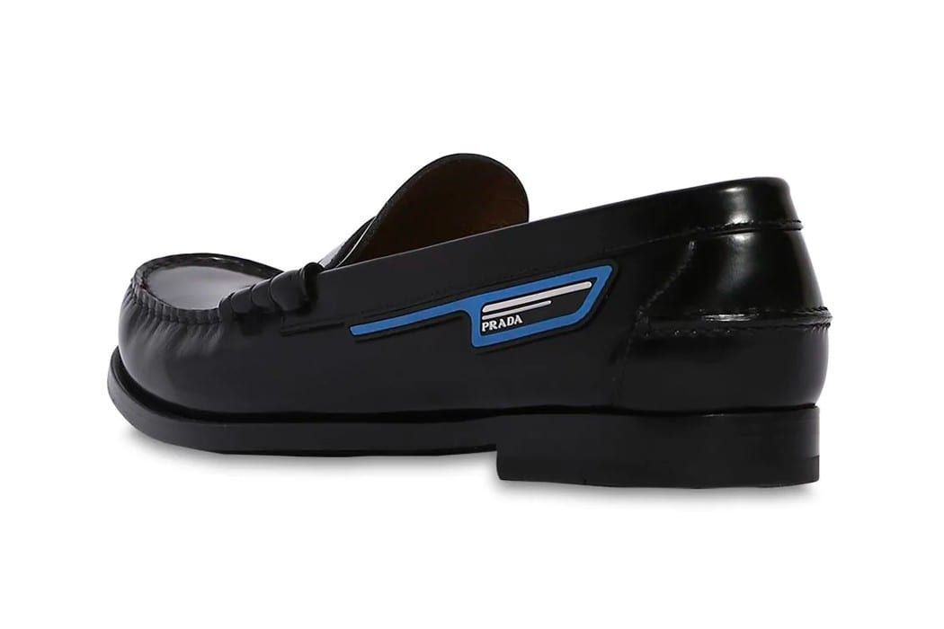 prada leather penny loafers black