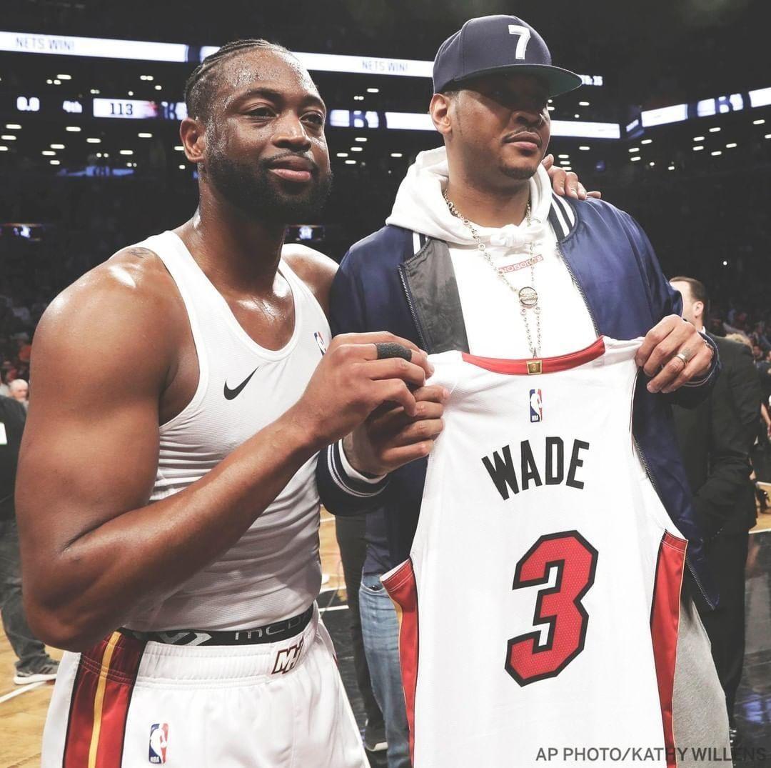 wholesale dealer 72473 2d189 Carmelo Anthony Receives Dwyane Wade's Final Jersey Swap