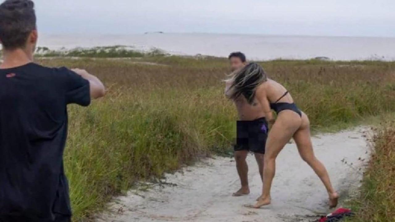 Joyce Vieira punching a man that was masturbating near her photo shoot