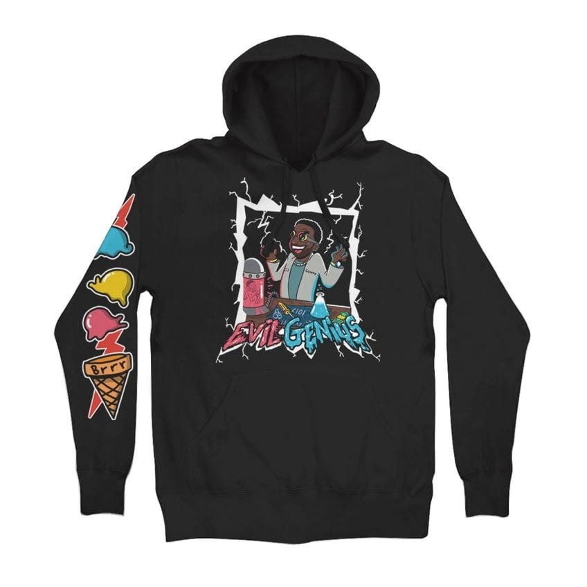 "aa49c523eff Pre-order the Gucci Mane x WMAS ""Evil Genius"" hoodie by Duane Planes right  now for  60 USD via the Warner Music Online Store."