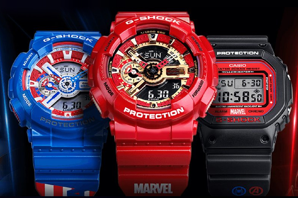 g shock marvel avengers collection captain america iron man spider man