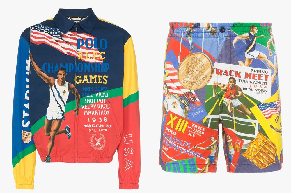 polo ralph lauren sports shorts print championship jacket