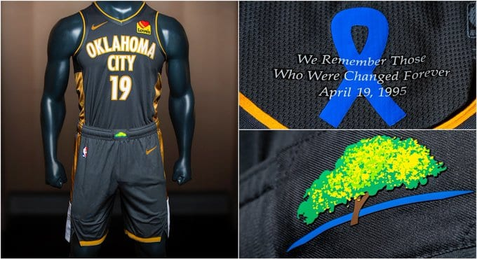 best website 1a90d 5aa0a Oklahoma City Thunder Reveal New Uniforms Honoring Victims ...