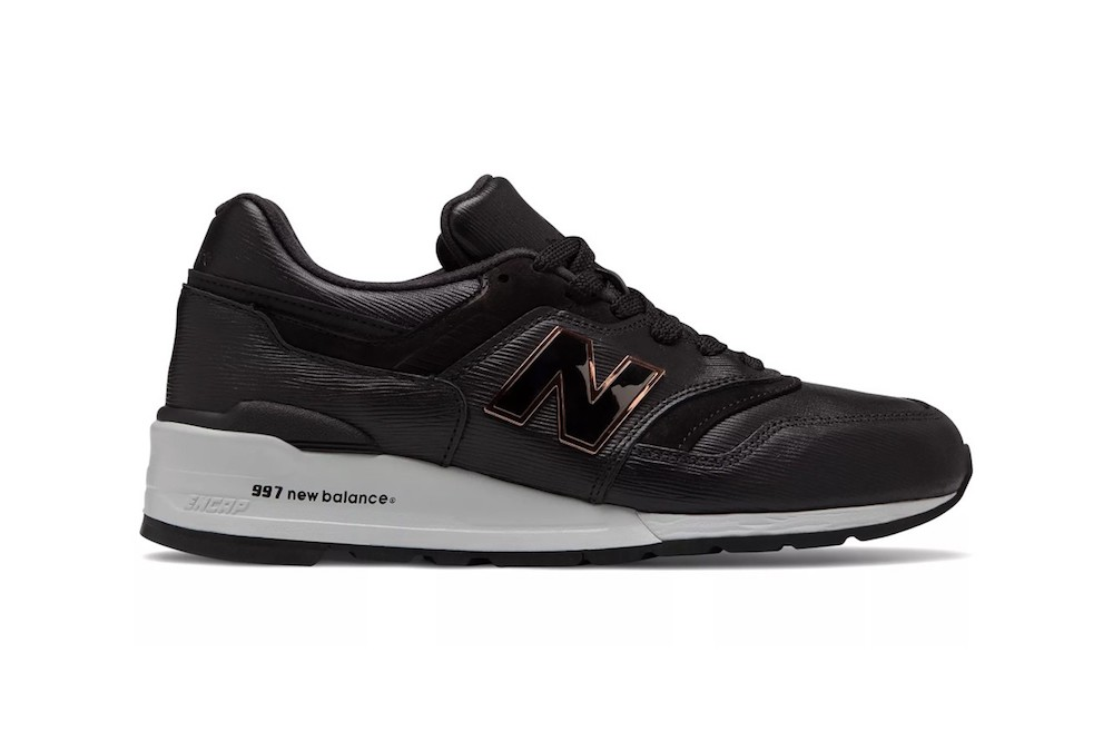 new balance made in us  black with grey leather metal