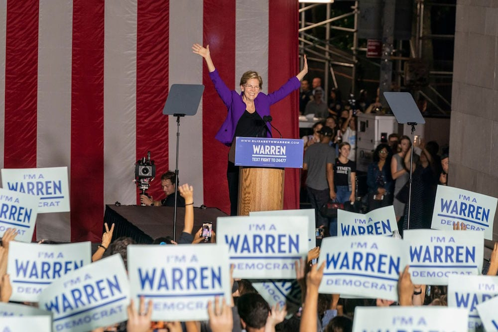senator elizabeth warren takes lead in cali for democratic presidential nomination