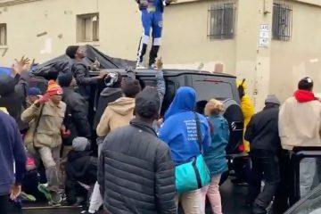 Blueface Makes it Rain on Homeless at Skid Row LA