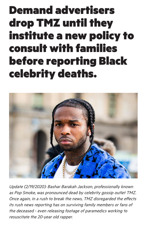 [Celeb News] Color of Change Start Petition Against TMZ's Coverage of Black Celebrities' Deaths Like Kobe, Whitney and Pop Smoke