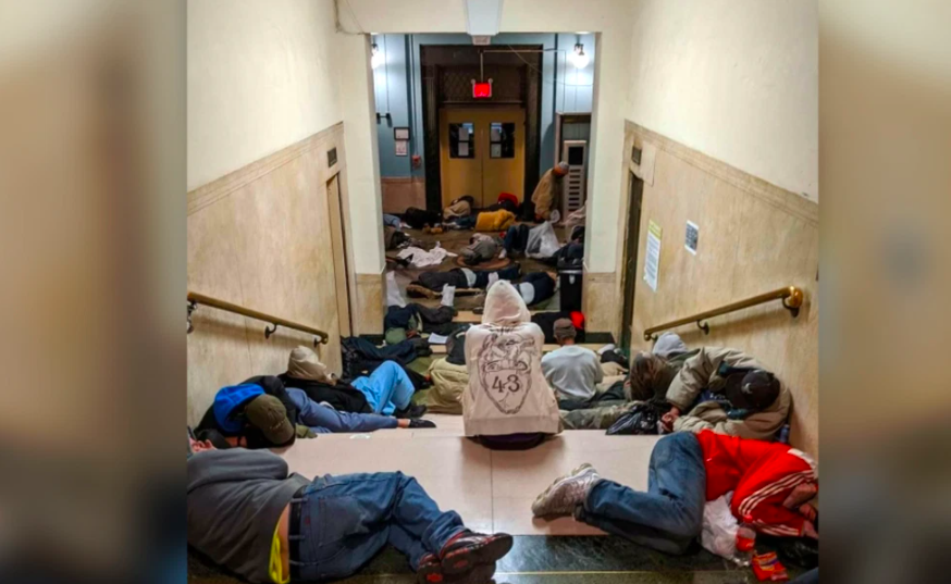 NYC Homeless Shelter Over Capacity With Mask-Less Men Sleeping On Cardboard Beds